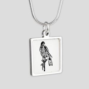 2-Falcon on Block Silver Square Necklace