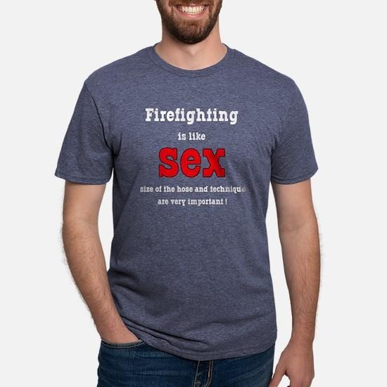 Firefighter is like sex.png Mens Tri-blend T-Shirt