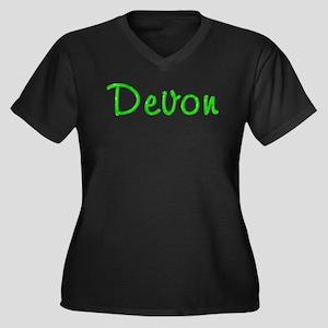 Devon Glitter Gel Women's Plus Size V-Neck Dark T-