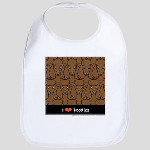 I Love Brown Poodles Bib