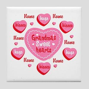 Grandma's Sweethearts Personalized Tile Coaster