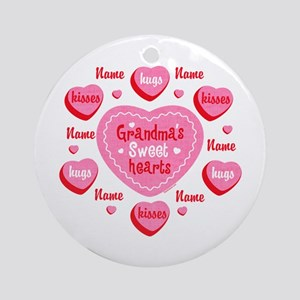 Grandma's Sweethearts Personalized Ornament (Round