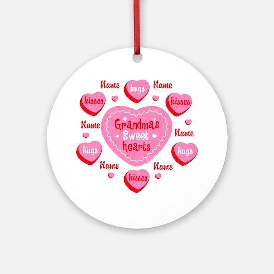Grandma's Sweethearts Personalized Ornament (Round