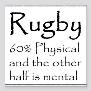 """Rugby: 60% Physical Square Car Magnet 3"""" x 3"""""""