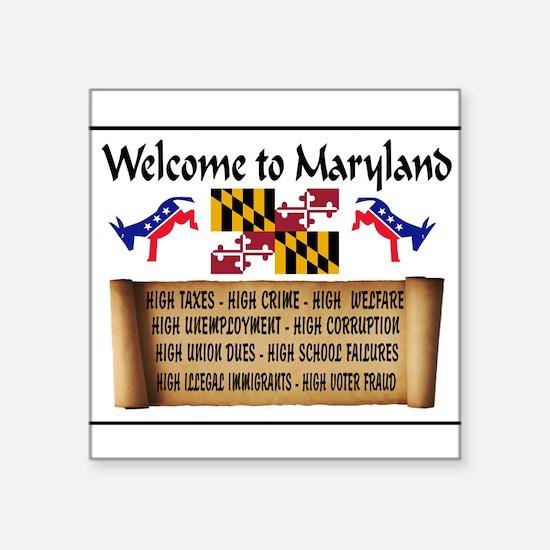 "MARYLAND HIGH Square Sticker 3"" x 3"""