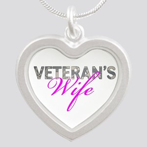 ACU Army Vet Wife Silver Heart Necklace