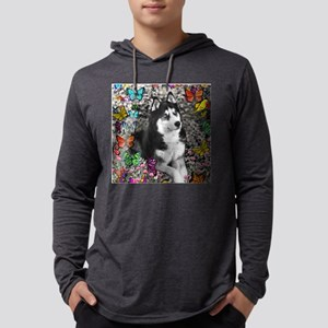 Irie the Siberian Husky in Butte Mens Hooded Shirt