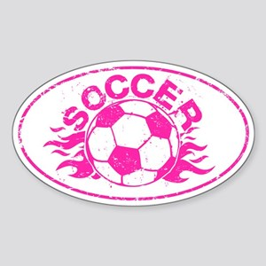 Pink Soccer Flames Sticker (Oval)
