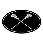 Lacrosse Sticks Sticker (Oval)