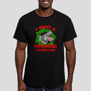 Hippopotamus for Christmas Men's Fitted T-Shirt (d