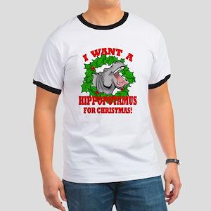Hippopotamus for Christmas Ringer T