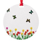 Tulip Flowers and Butterflies Round Ornament