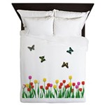 Tulip Flowers and Butterflies Queen Duvet
