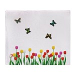 Tulip Flowers and Butterflies Throw Blanket