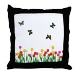 Tulip Flowers and Butterflies Throw Pillow
