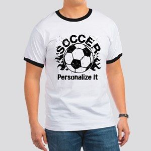 Personalized Soccer Flames Ringer T