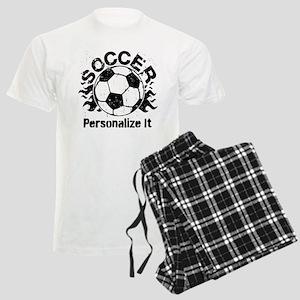 Personalized Soccer Flames Men's Light Pajamas