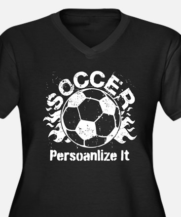 Personalized Soccer Flames Women's Plus Size V-Nec