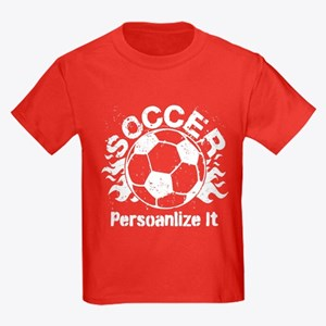 Personalized Soccer Flames Kids Dark T-Shirt