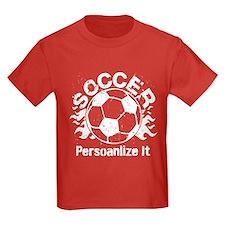 Personalized Soccer Flames Kids Dark T-Shirt