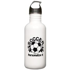 Personalized Soccer Flames Stainless Water Bottle