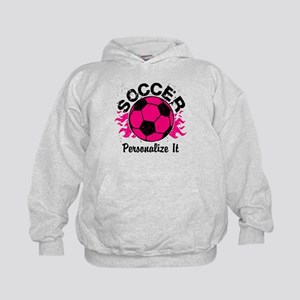Personalized Soccer Flames Kids Hoodie