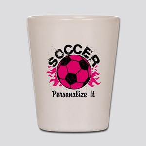 Personalized Soccer Flames Shot Glass