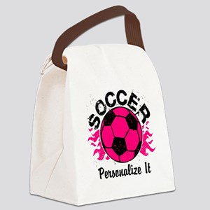 Personalized Soccer Flames Canvas Lunch Bag