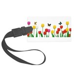 Tulip Flowers and Butterflies Large Luggage Tag