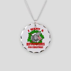 Hippopotamus for Christmas Necklace Circle Charm
