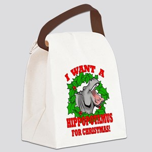 Hippopotamus for Christmas Canvas Lunch Bag