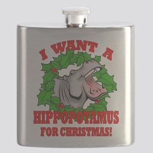 Hippopotamus for Christmas Flask