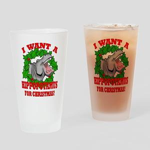 Hippopotamus for Christmas Drinking Glass