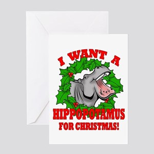 Hippopotamus for Christmas Greeting Card