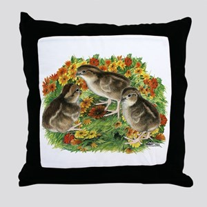 Bobwhite Chick Garden Throw Pillow