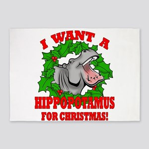 Hippopotamus for Christmas 5'x7'Area Rug
