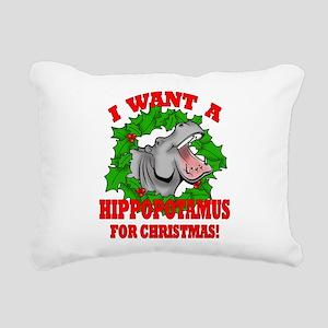 Hippopotamus for Christmas Rectangular Canvas Pill