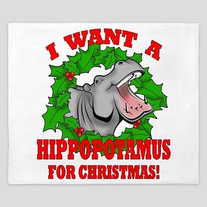 Hippopotamus for Christmas King Duvet