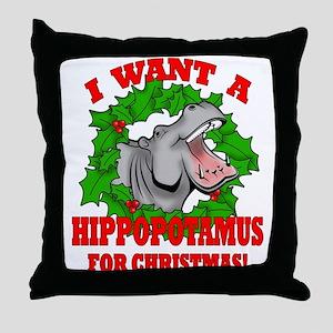 Hippopotamus for Christmas Throw Pillow