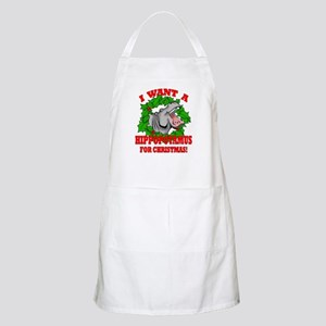 Hippopotamus for Christmas Apron