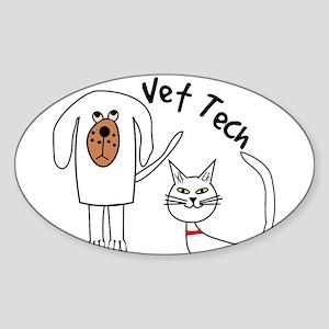 Vet Tech dog and cat Sticker (Oval)