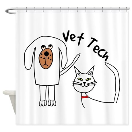 Vet Tech Dog And Cat Shower Curtain By Nurseii