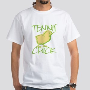 Green Tennis Chick White T-Shirt