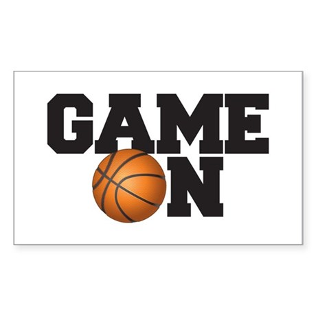 Game On Basketball Sticker (Rectangle)