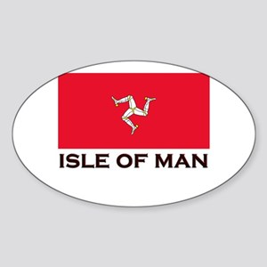 The Isle Of Man Flag Gear Oval Sticker