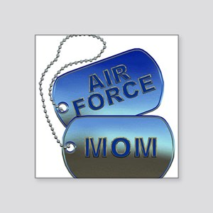 """Air Force Mom Dog Tags Square Sticker 3"""" x 3"""""""