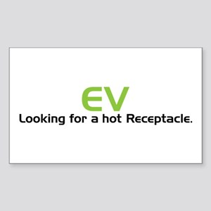 Electric Vehicle Hot Receptacle Sticker (Rectangle