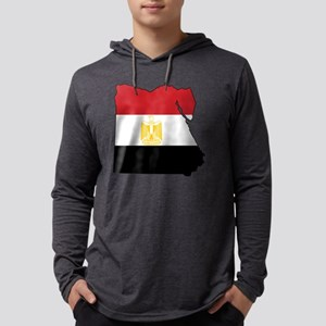 Flag Map of Egypt Mens Hooded Shirt