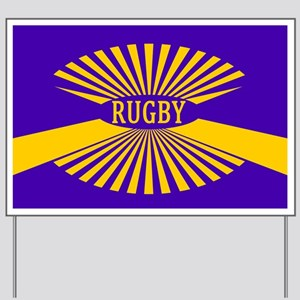 Rugby Spokes Gold Purple Yard Sign