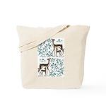 Deer in Vineyard Batik Tote Bag